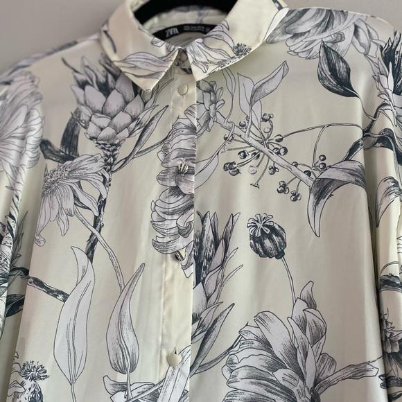 Zara Silky Floral Button Up